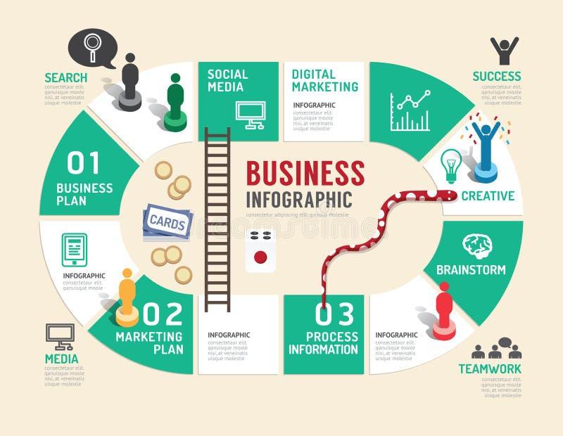Paso infographic del concepto del juego de mesa del negocio a acertado stock de ilustración