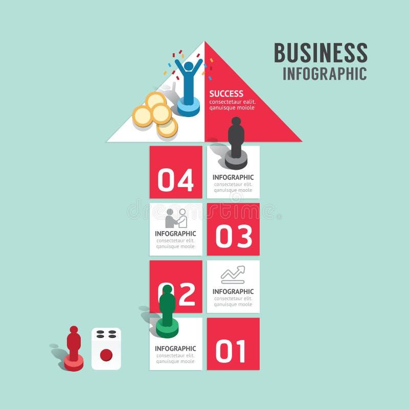 Paso infographic del concepto del juego de mesa del negocio a acertado, flecha ilustración del vector