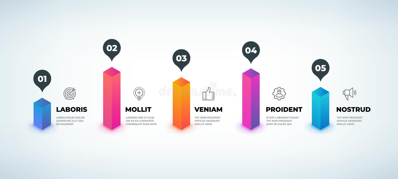 Paso infographic Elementos realistas del diagrama del negocio, carta de la presentación del flujo de trabajo 3D, plantilla gráfic libre illustration
