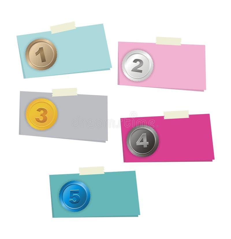 1, 2, 3, 4, 5 paso - número de opción ilustración del vector