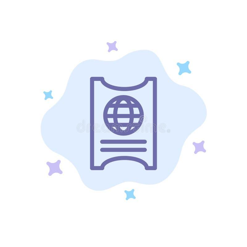 Paso, pasaporte, boleto, icono azul del hotel en fondo abstracto de la nube libre illustration