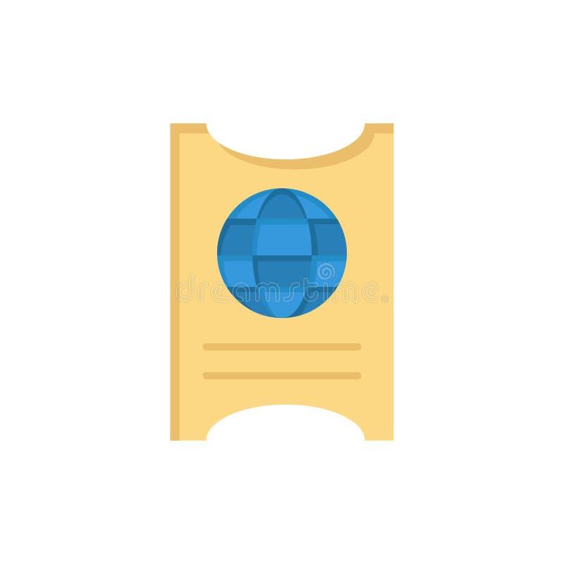 Paso, pasaporte, boleto, icono plano del color del hotel Plantilla de la bandera del icono del vector ilustración del vector