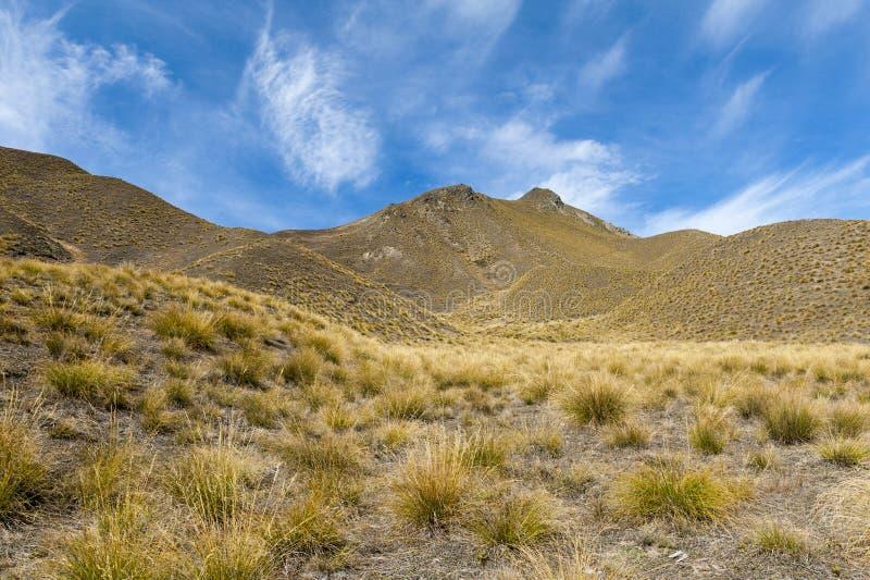 Paso que miente entre los valles del Lindis y los ríos de Ahuriri, isla del sur de Lindis de Nueva Zelanda fotografía de archivo libre de regalías