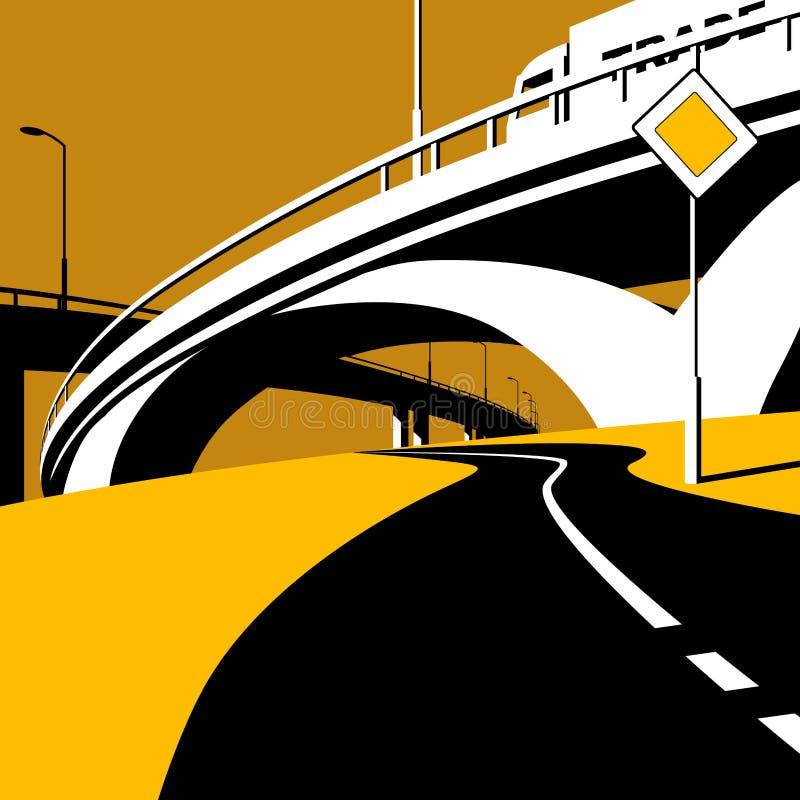 Paso superior y camino de la carretera en estilo plano stock de ilustración