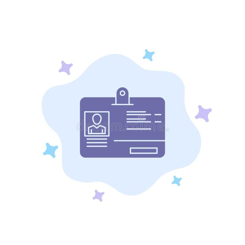 Paso, tarjeta, identidad, icono azul de la identificación en fondo abstracto de la nube stock de ilustración