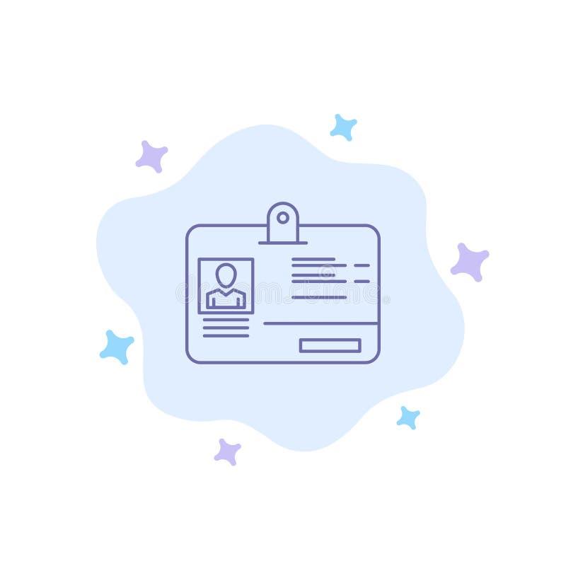 Paso, tarjeta, identidad, icono azul de la identificación en fondo abstracto de la nube libre illustration