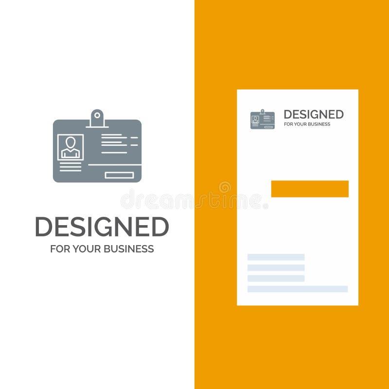 Paso, tarjeta, identidad, identificación Grey Logo Design y plantilla de la tarjeta de visita stock de ilustración