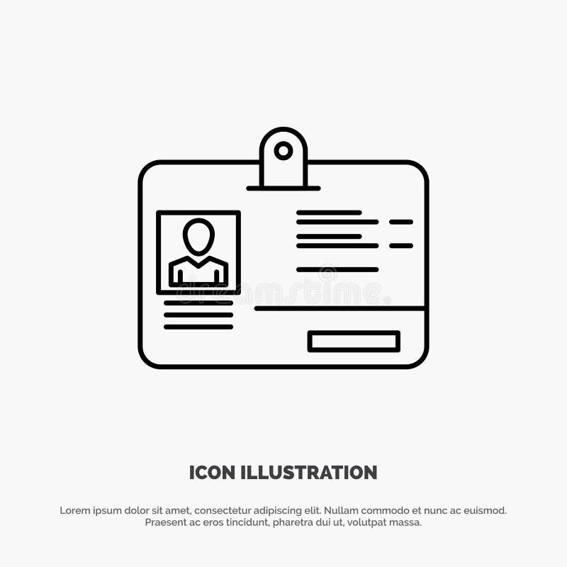 Paso, tarjeta, identidad, línea vector de la identificación del icono libre illustration
