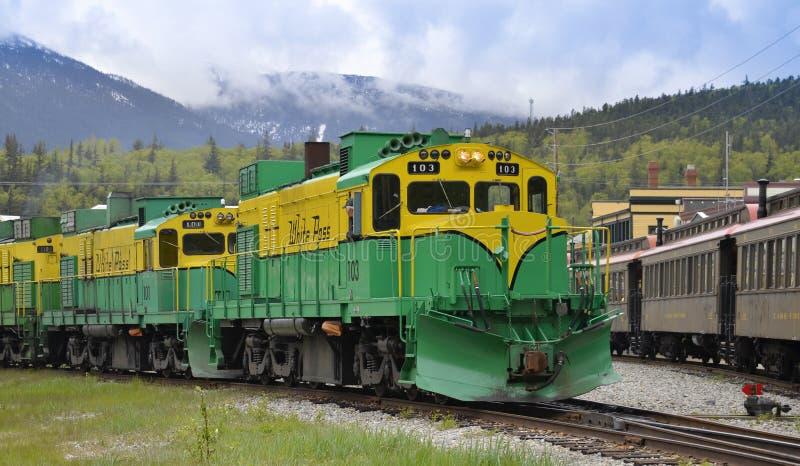 Paso y ferrocarril blancos de Yukon, Skagway, Alaska fotografía de archivo