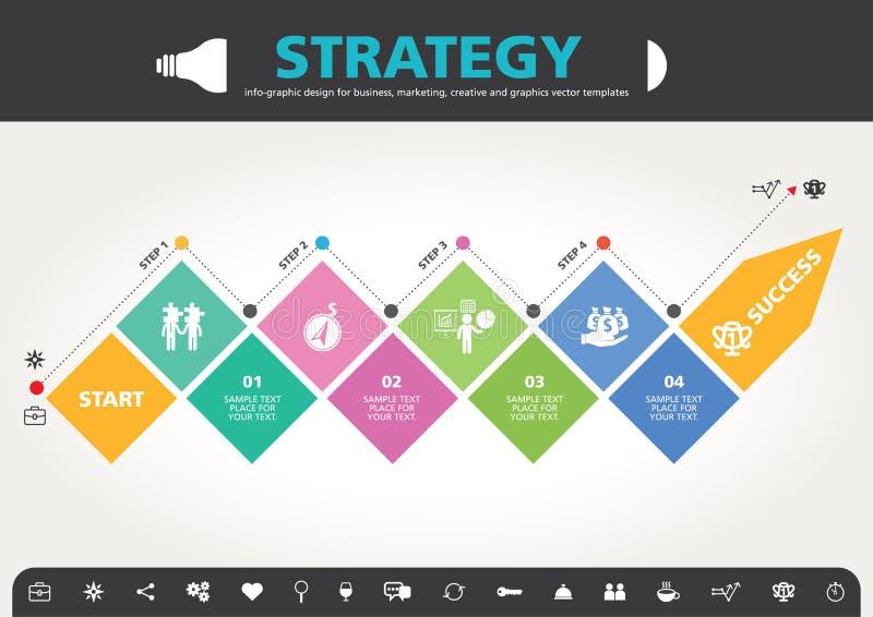 4 pasos al diseño gráfico de la información moderna de la plantilla del éxito stock de ilustración