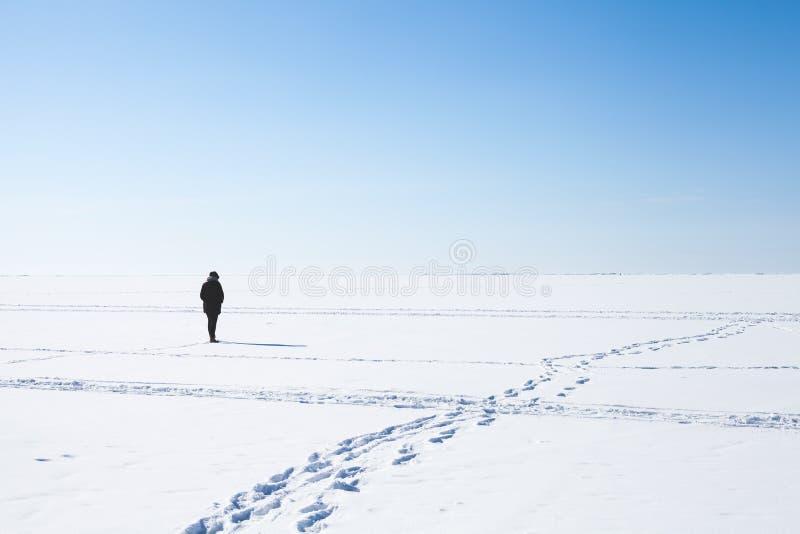 Pasos de la muchacha sola que caminan en el mar congelado fotografía de archivo