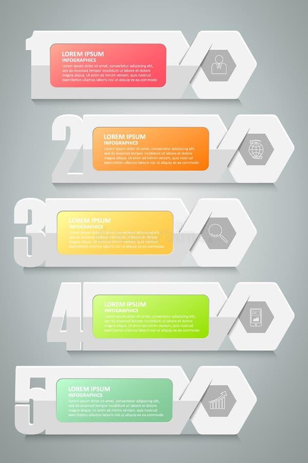 Pasos de la opción 5 del número del diseño infographic libre illustration