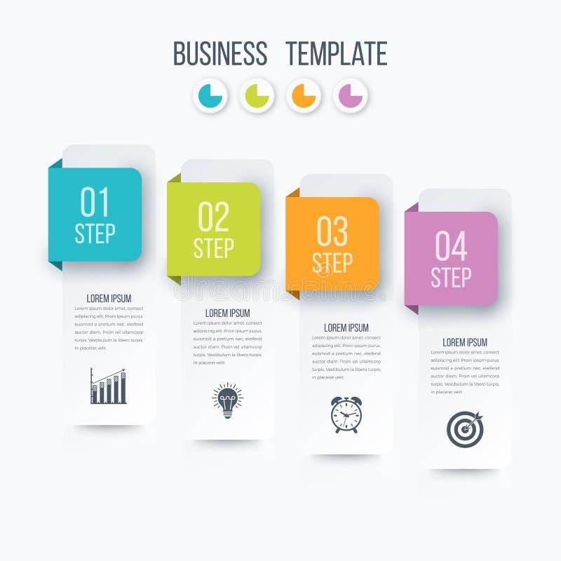 Pasos de la plantilla 4 del infographics del negocio con el cuadrado libre illustration