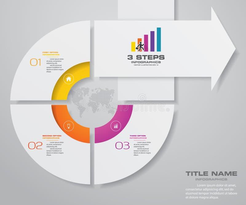 3 pasos de la plantilla de Infografics de la flecha Para su presentación libre illustration