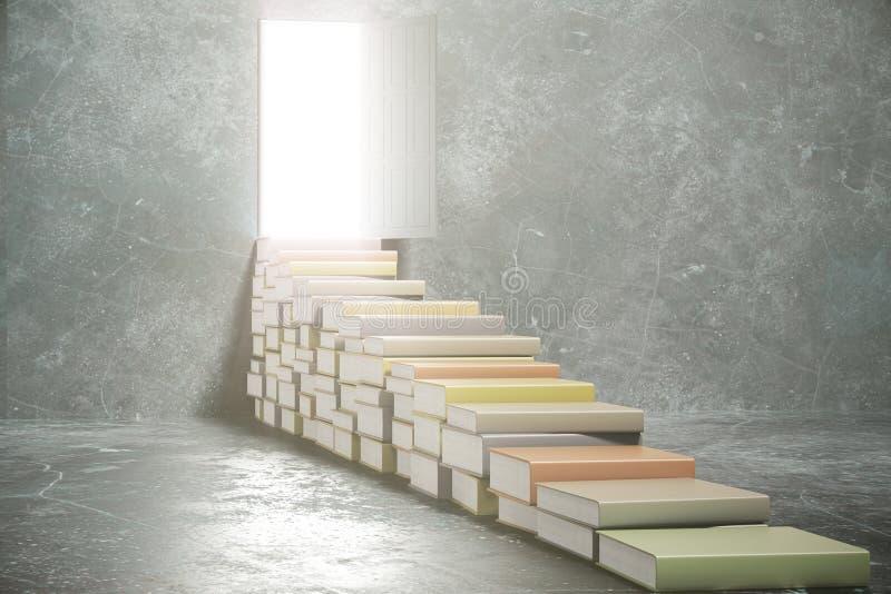 Pasos de los libros en la puerta abierta fotografía de archivo