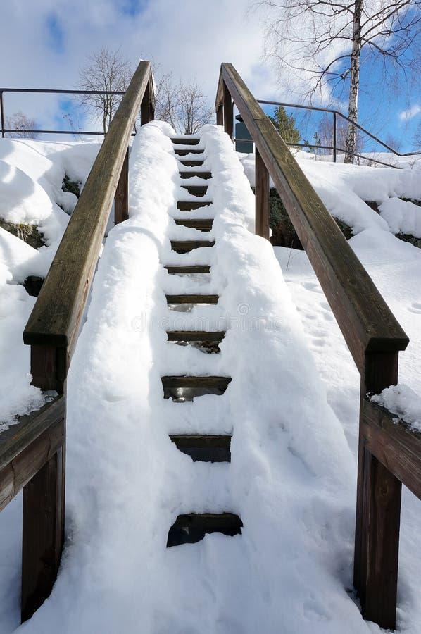 Pasos de madera nevados en parque fotografía de archivo