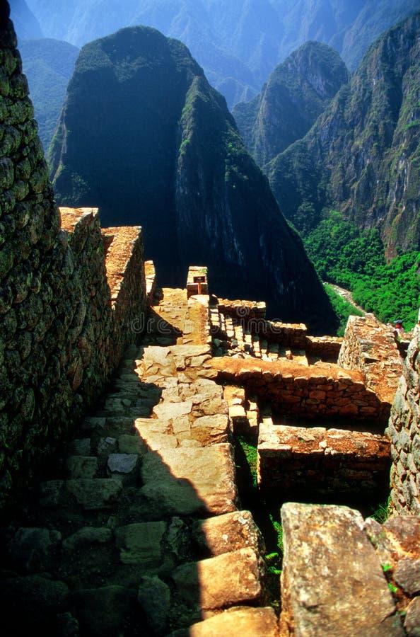 Pasos de progresión antiguos de Machu Picchu imagen de archivo libre de regalías