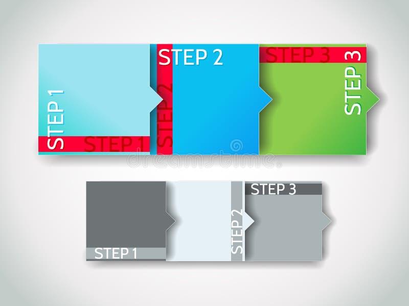 Pasos de progresión del progreso del vector/etiquetas engomadas de la flecha fijadas stock de ilustración