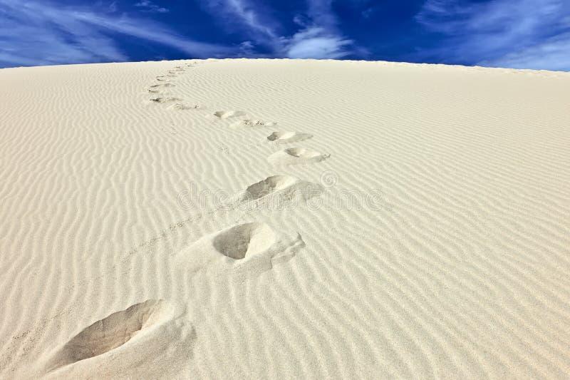Pasos de progresión en la arena de la duna du Pyla, Francia fotos de archivo
