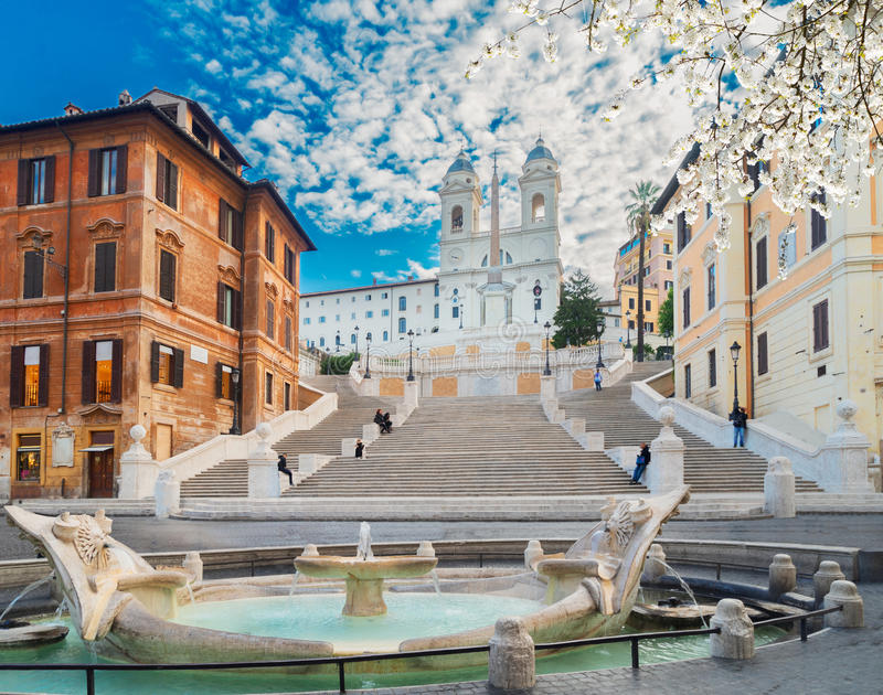 Pasos de progresión españoles, Roma, Italia imagen de archivo