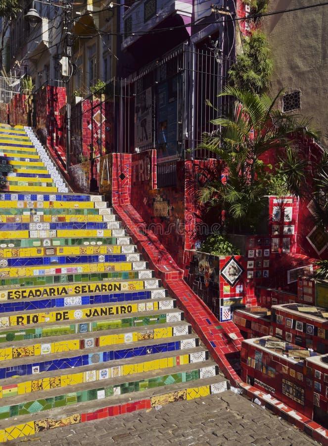 Pasos de Selaron en Río foto de archivo