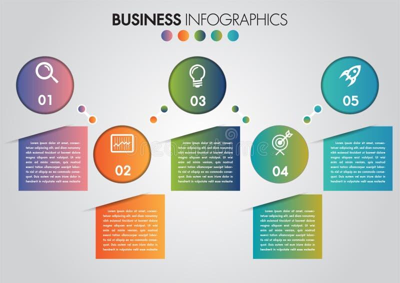 Pasos del círculo 5 del infographics del negocio cronolog?a con el espacio de la copia y el icono del negocio Plantilla del dise? stock de ilustración