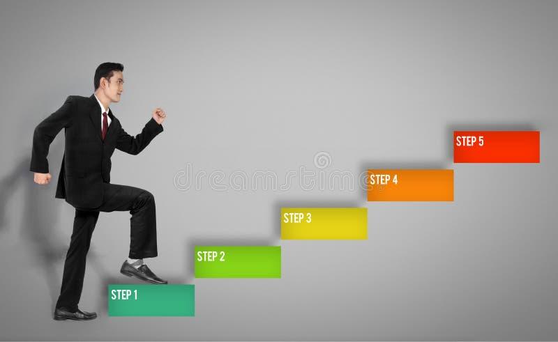 5 pasos del hombre de negocios foto de archivo