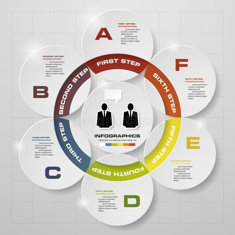 6 pasos en diagrama del infographics del diseño moderno ilustración del vector