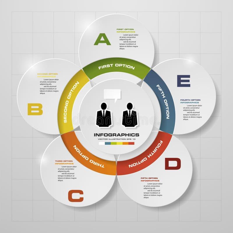 5 pasos en diagrama del infographics del diseño moderno ilustración del vector