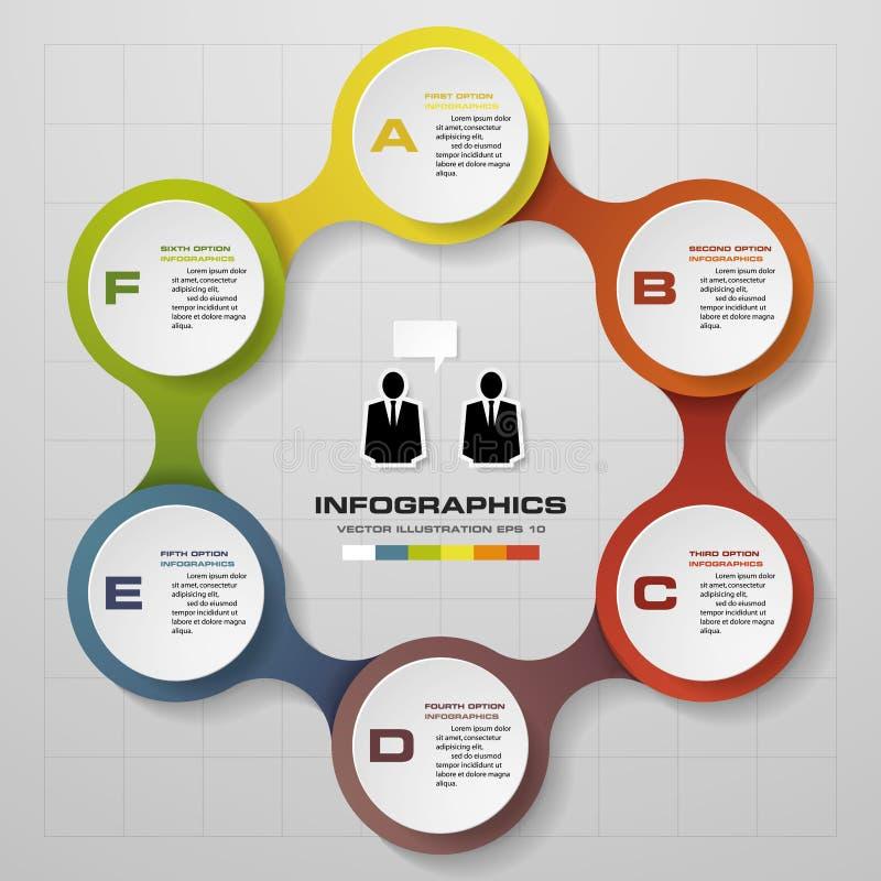 6 pasos en diagrama del infographics del diseño moderno libre illustration