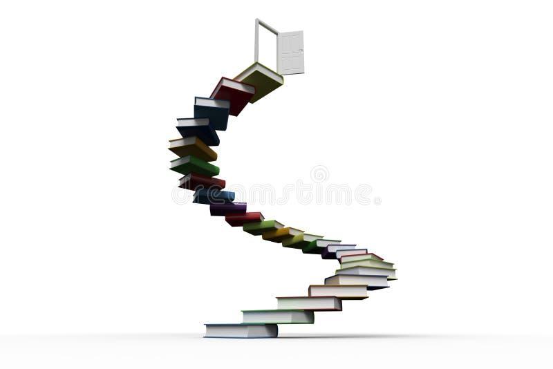 Pasos hechos fuera de los libros con la puerta abierta stock de ilustración