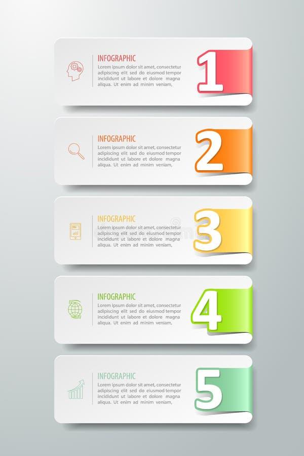 Pasos infographic de la plantilla 5 de la bandera de la opción del número, libre illustration