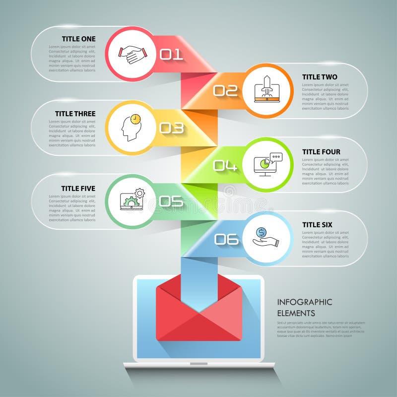 Pasos infographic de la plantilla 6 del concepto del negocio ilustración del vector