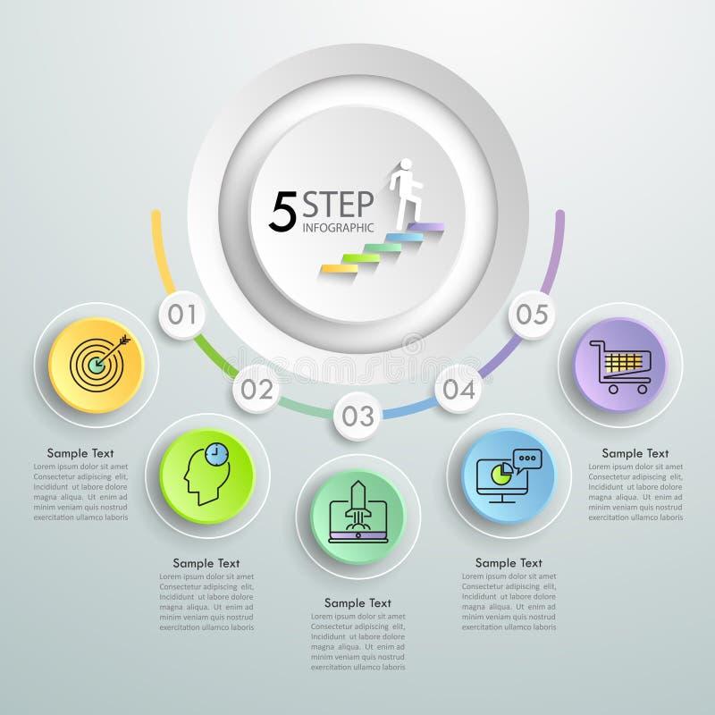 Pasos infographic de la plantilla 5 del concepto del negocio stock de ilustración