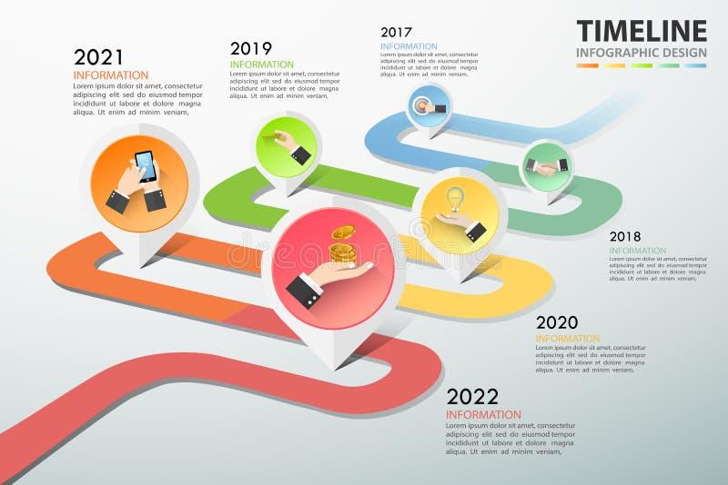 Pasos infographic de la plantilla 5 del concepto del negocio de la cronología, ilustración del vector