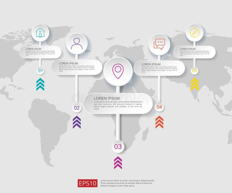 5 pasos infographic plantilla del diseño de la cronología con la etiqueta del papel 3D y el fondo del mapa del mundo Concepto del stock de ilustración