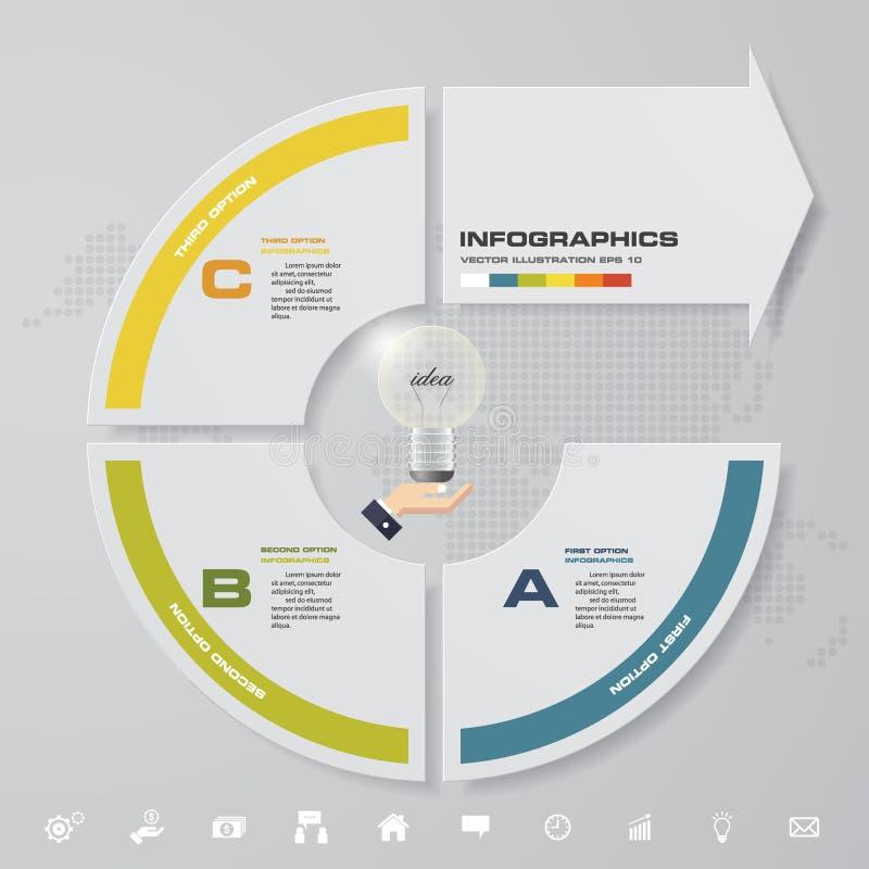 3 pasos modernos con el elemento infographic de la flecha con el sistema de los iconos para la presentación ilustración del vector