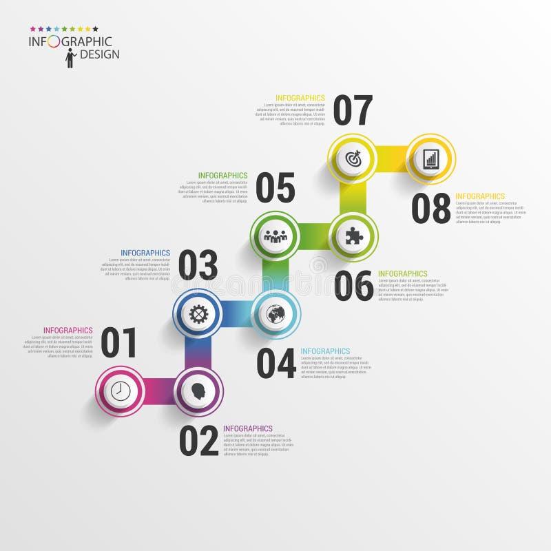 Pasos modernos de la escalera del negocio al éxito Plantilla del diseño de Infographic Ilustración del vector libre illustration