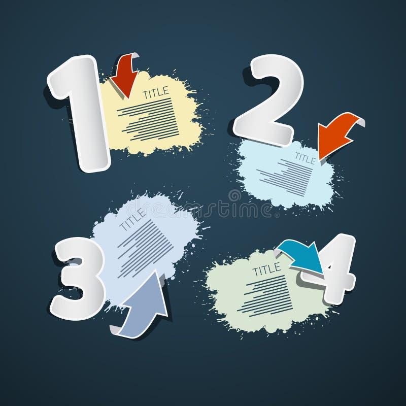 Pasos para el tutorial, sistemas de Infographics stock de ilustración