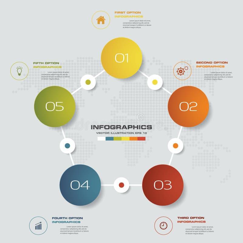 5 pasos procesan el elemento del infographics para la presentación stock de ilustración