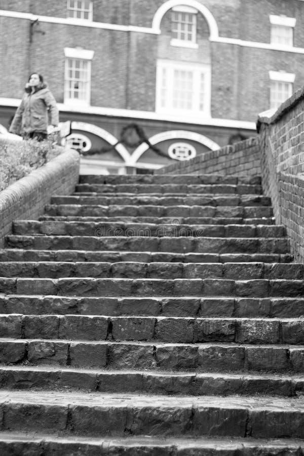Pasos, puente del hierro, Shropshire, Inglaterra Reino Unido imágenes de archivo libres de regalías