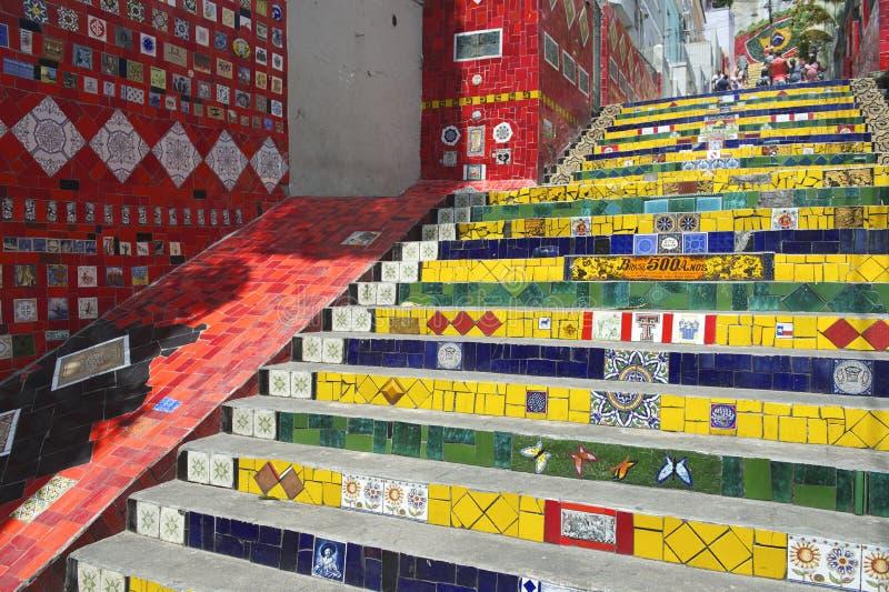 Pasos Rio de Janeiro Brazil de Escadaria Selaron imagenes de archivo