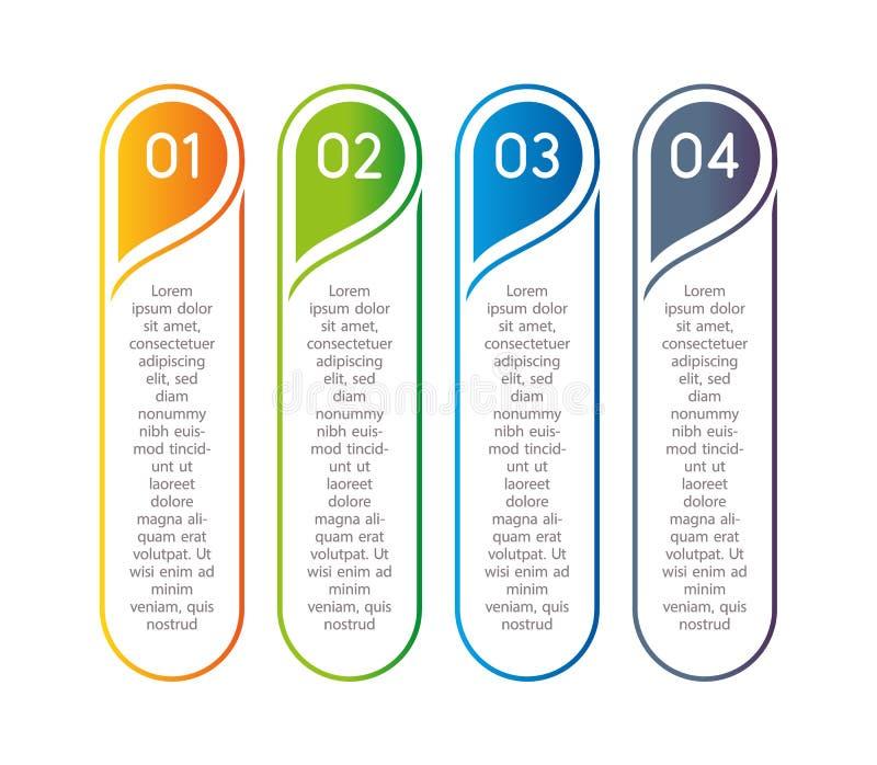 Pasos verticales, elementos infographic Menú colorido del esquema para el interfaz del app Opciones del número Diseño web de boto ilustración del vector