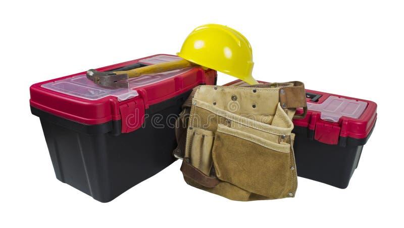 pasowi ciężkiego kapeluszu narzędzia toolboxes zdjęcie stock