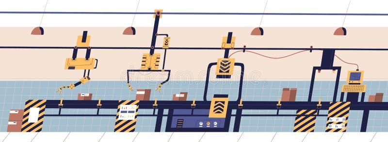 Pasowy konwejer wyposażający z mechanicznymi hydraulicznymi manipulantami przenosi pudełka Fabrykować lub linia produkcyjna przem ilustracja wektor