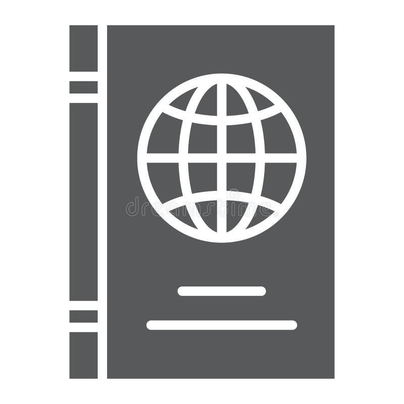 Paspoort glyph pictogram, identificatie en reis, het teken van het identiteitsdocument, vectorafbeeldingen, een stevig patroon op vector illustratie