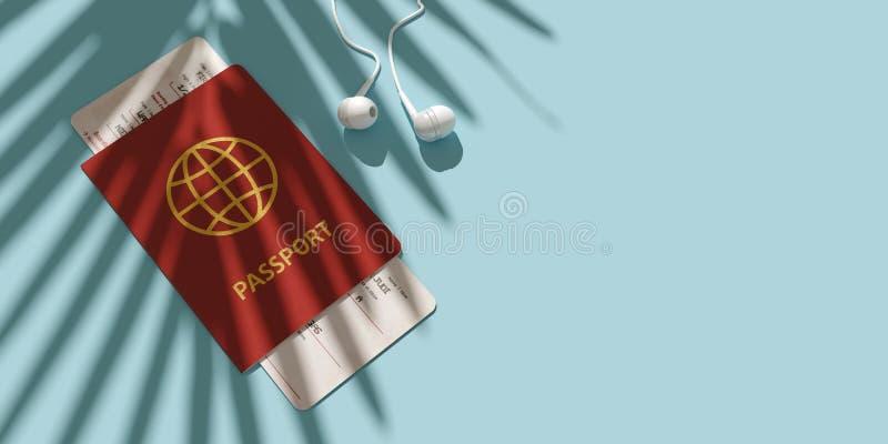 Paspoort, instapkaart, vliegtuigkaartje op de mening van de lijstbovenkant Palmschaduw Minimalismconcept het reizen 3d stock illustratie