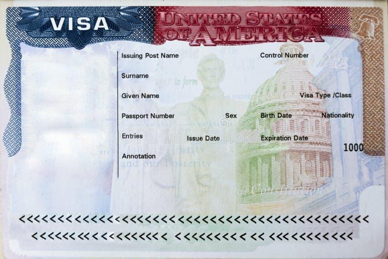 Paspoort met het visum van de V.S. royalty-vrije stock fotografie