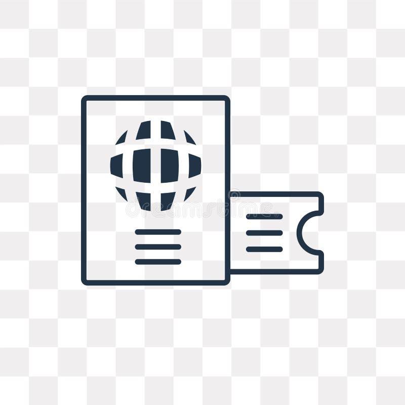 Paspoort vectordiepictogram op transparante lineaire achtergrond wordt geïsoleerd, stock illustratie
