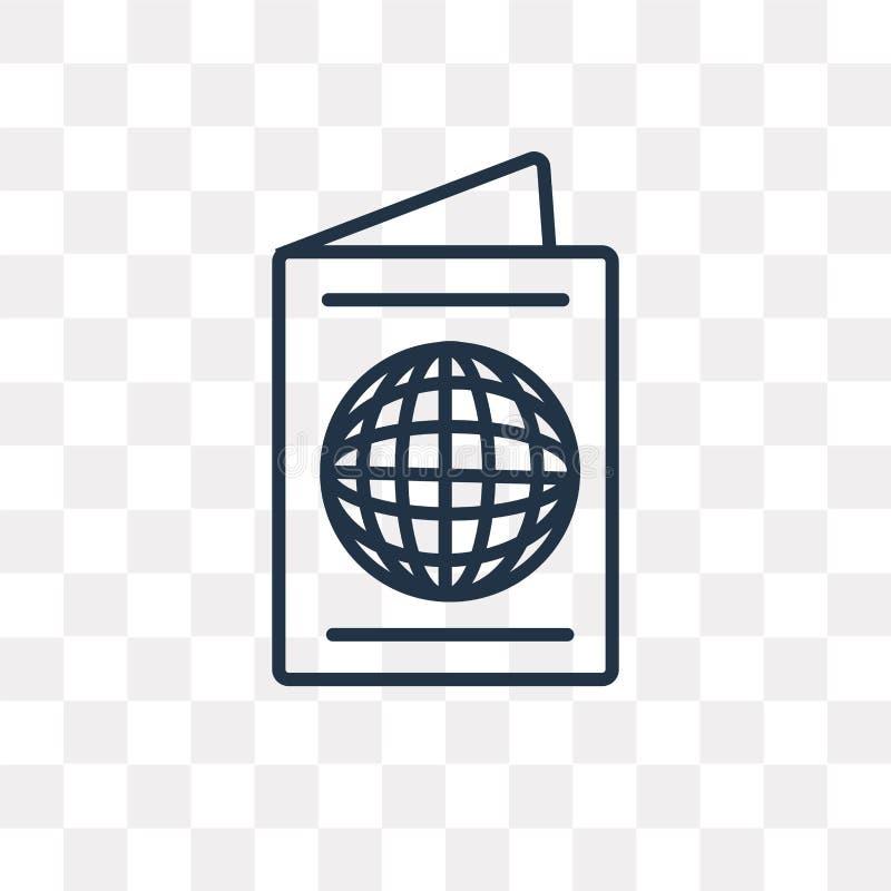 Paspoort vectordiepictogram op transparante lineaire achtergrond wordt geïsoleerd, royalty-vrije illustratie